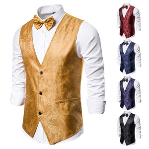 Image 5 - Banquet Wedding Waistcoat Party Waistcoat Bar Night Club Suit Men Waistcoat Bright Suit Paisley Waistcoat