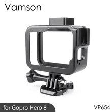 Vamson Vlog Aluminium alloy Housing Case for GoPro Hero 8 Black Vlogging Cage Frame Shell with Mic Cold Shoe Mount VP654