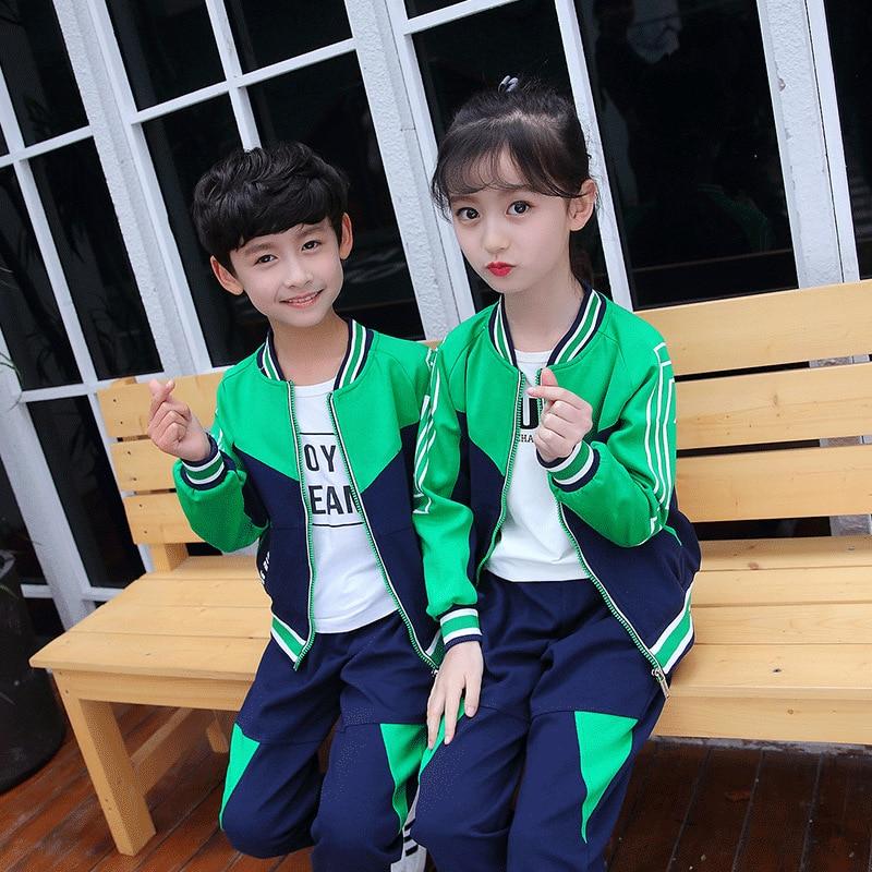 Kindergarten Suit 2019 Spring New Style Mixed Colors Students Children Sports School Uniform Men And Women Children Thin Busines