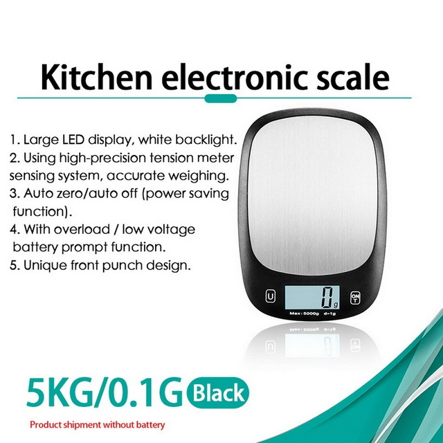 5Kg//1g Kitchen Mail LCD Digital Scale White Diet Food Compact Accurate high