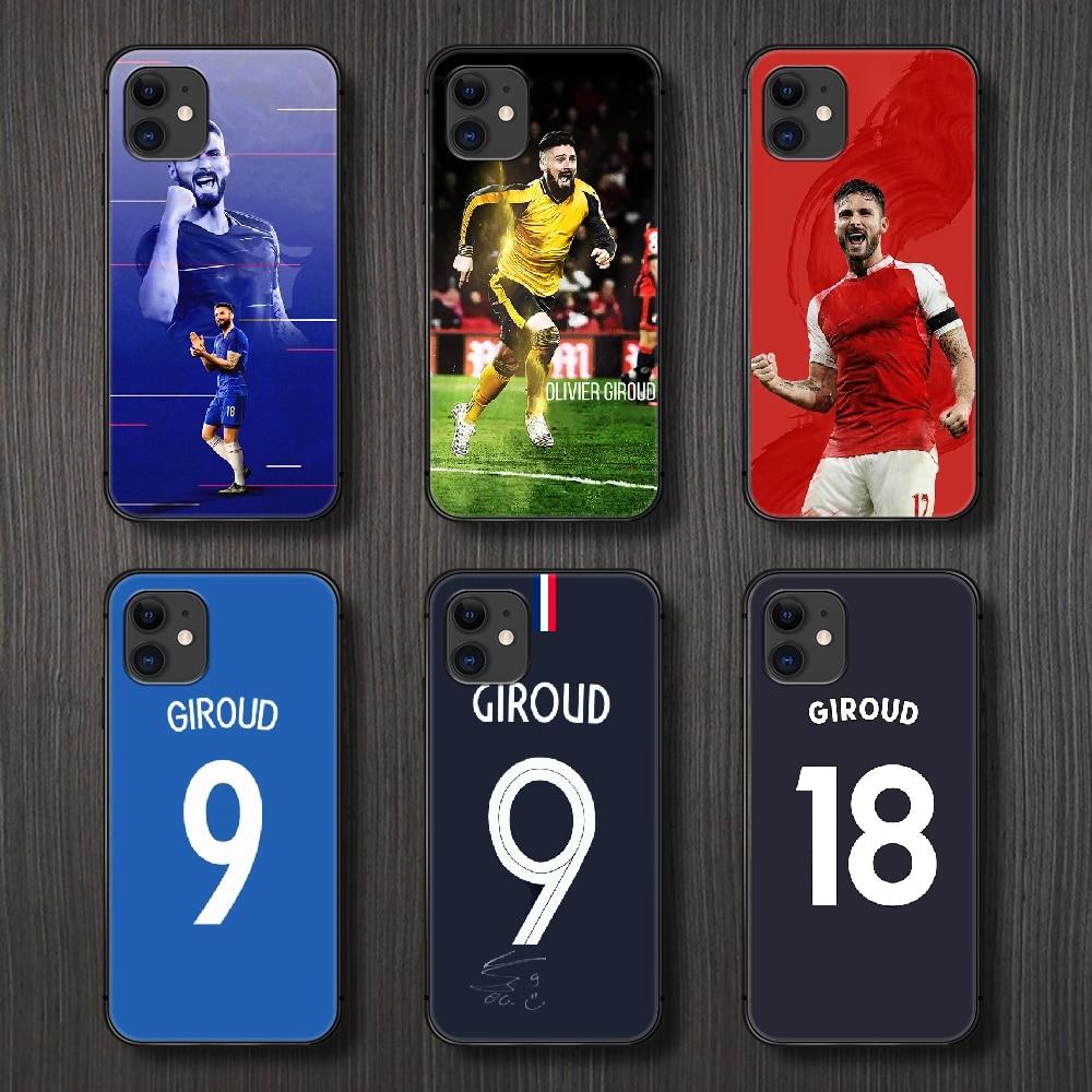 Olivier giroud football téléphone housse coque pour iphone 5 5s se 2 6 6s 7 8 12 mini plus X XS XR 11 PRO MAX coque noire mode