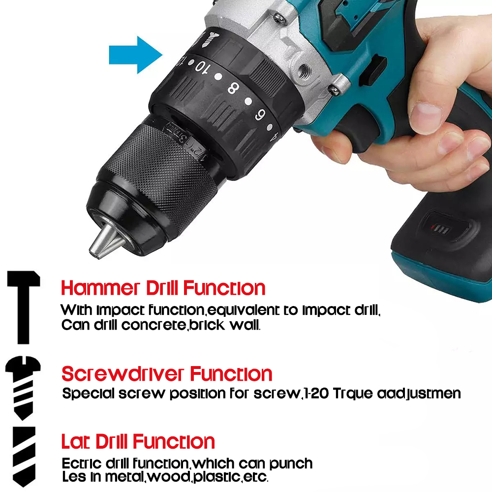 For Hammer Drill 18V Battery Electric Drill 3 Makita Cordless Impact Electric 20 Brushless In Torque Screwdriver 3 Cordles 1