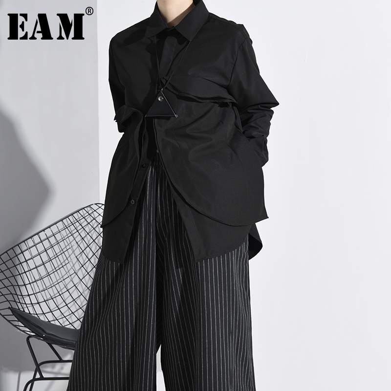 [EAM] Women Black Three-dimensional Split Big Size Blouse New Lapel Long Sleeve Loose Fit Shirt Fashion Spring Autumn 2020 A554