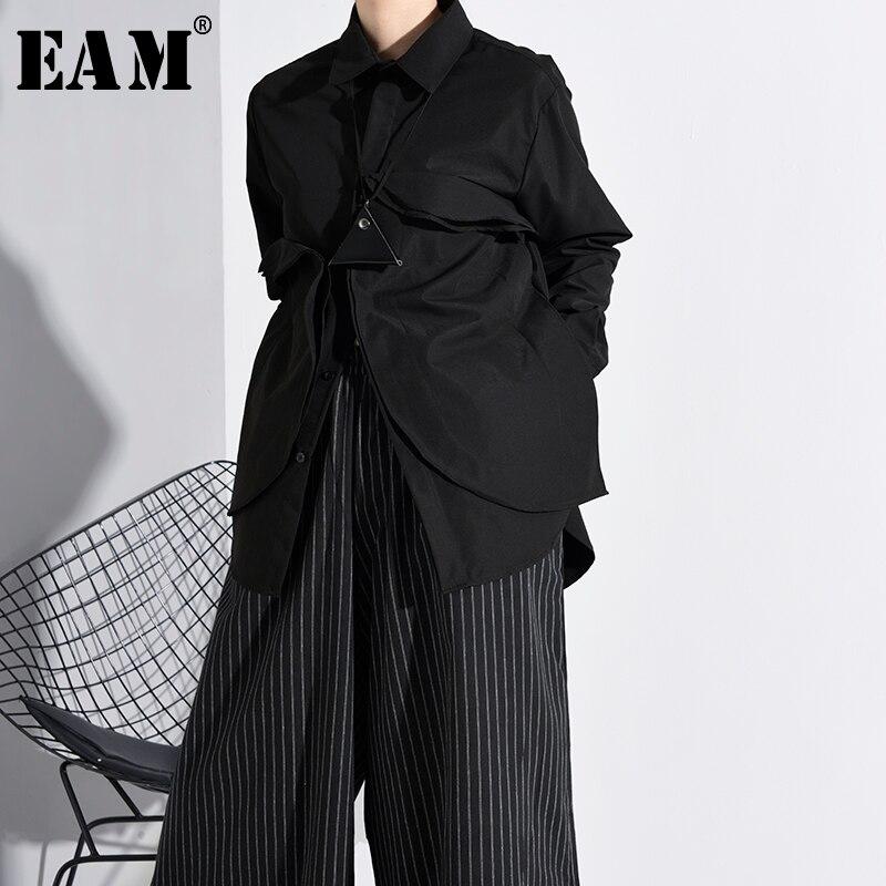 [EAM] Women Black Three-dimensional Split Big Size Blouse New Lapel Long Sleeve Loose Fit Shirt Fashion Spring Autumn 2020 A554