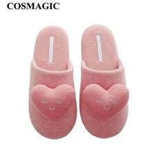 COSMAGIC/Новинка года; зимние женские домашние тапочки; теплые домашние тапочки со звездами; одноцветные милые шлёпки с закрытыми пальцами