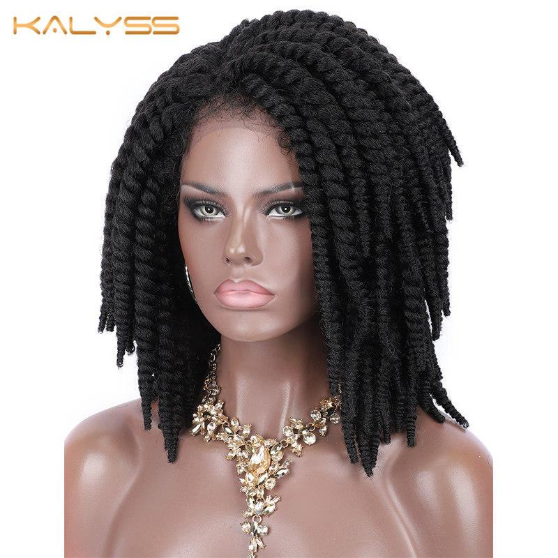 Kalyss Short Braided Wigs for Black Women Cornrow Braids Lace Wigs Synthetic Lace Front Wig Baby Hair Wig Side Part