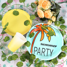 Hawaii Party Disposable Tableware Summer Tropical Birthday Party Decoration Kids Flamingo Hawaiian Luau Aloha Party Supplies