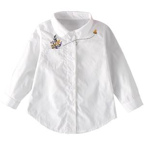 Image 4 - הגעה חדשה בנות לבן חולצה סתיו חמוד ארוך שרוולים ילדי Cartoon חולצות ילדה חולצות חתול בית ספר נער בגדי ילדי חולצות
