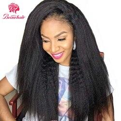 Peluca de cabello humano brasileño, peluca rizada recta 13x4, peluca con malla Frontal 4x4, peluca con cierre de encaje, pelucas con encaje Frontal 360 para mujeres negras Beauhair