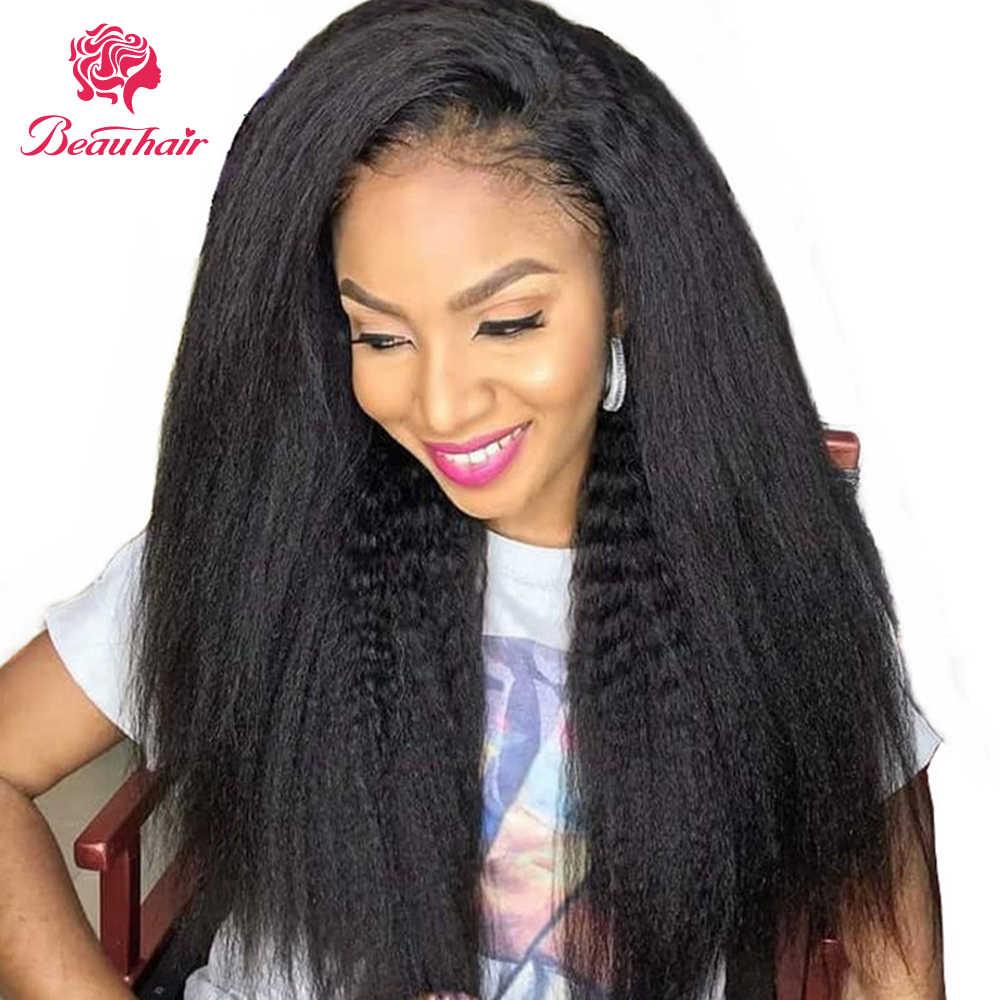 Peruca de cabelo humano brasileiro kinky em linha reta 13x4 peruca frontal do laço 4x4 peruca fechamento do laço 360 perucas frontais do laço para as mulheres negras beauhai