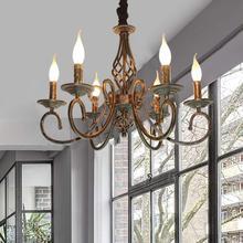 Lámpara rústica con 6 luces de Metal en bronce antiguo, lámpara colgante de granja, accesorio Vintage para iluminación para salón