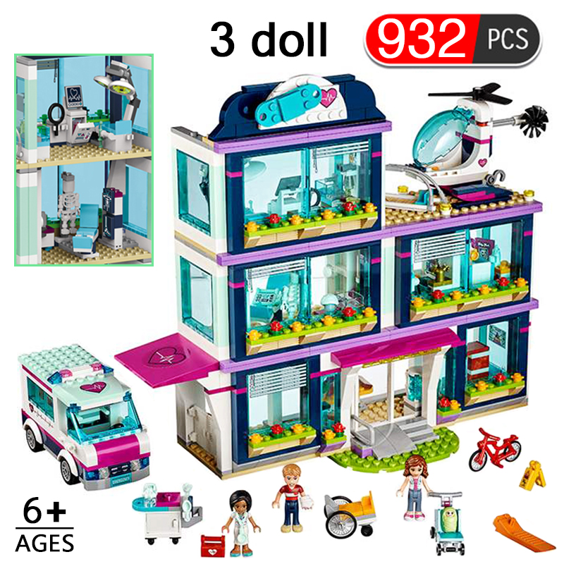 932pcs Heartlake City Hospital Model Build Blocks Girls Friends  Bricks Compatible With LYS Figures Toys For Children