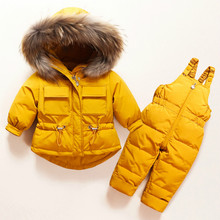 Down Jacket Coat Overalls Jumpsuit Parka Real-Fur Baby-Boy-Girl Children Winter Warm