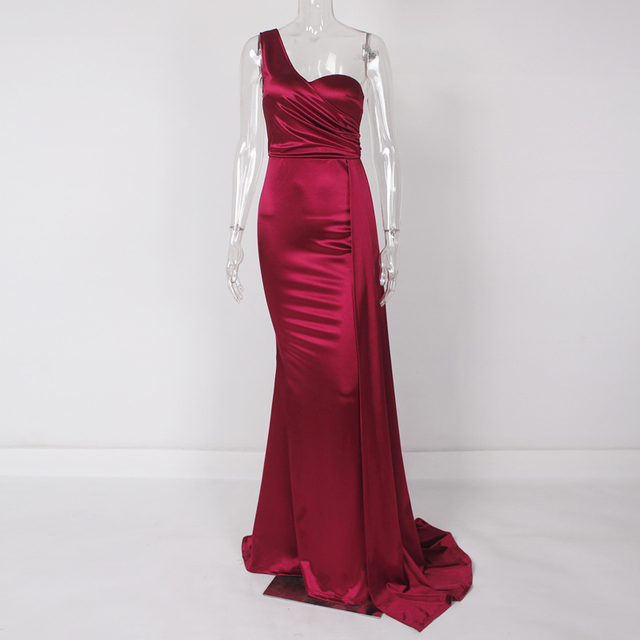 One Shoulder Sexy Brugundy Satin Maxi Dress Draped Long Evening Party Dress Gown 4
