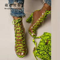 Clear PVC Women Pumps Sandals Chunky Heels Lace Up Pumps Mujer Ladies Snkake Print Summer Boots Party Women Pumps Green Zapatos