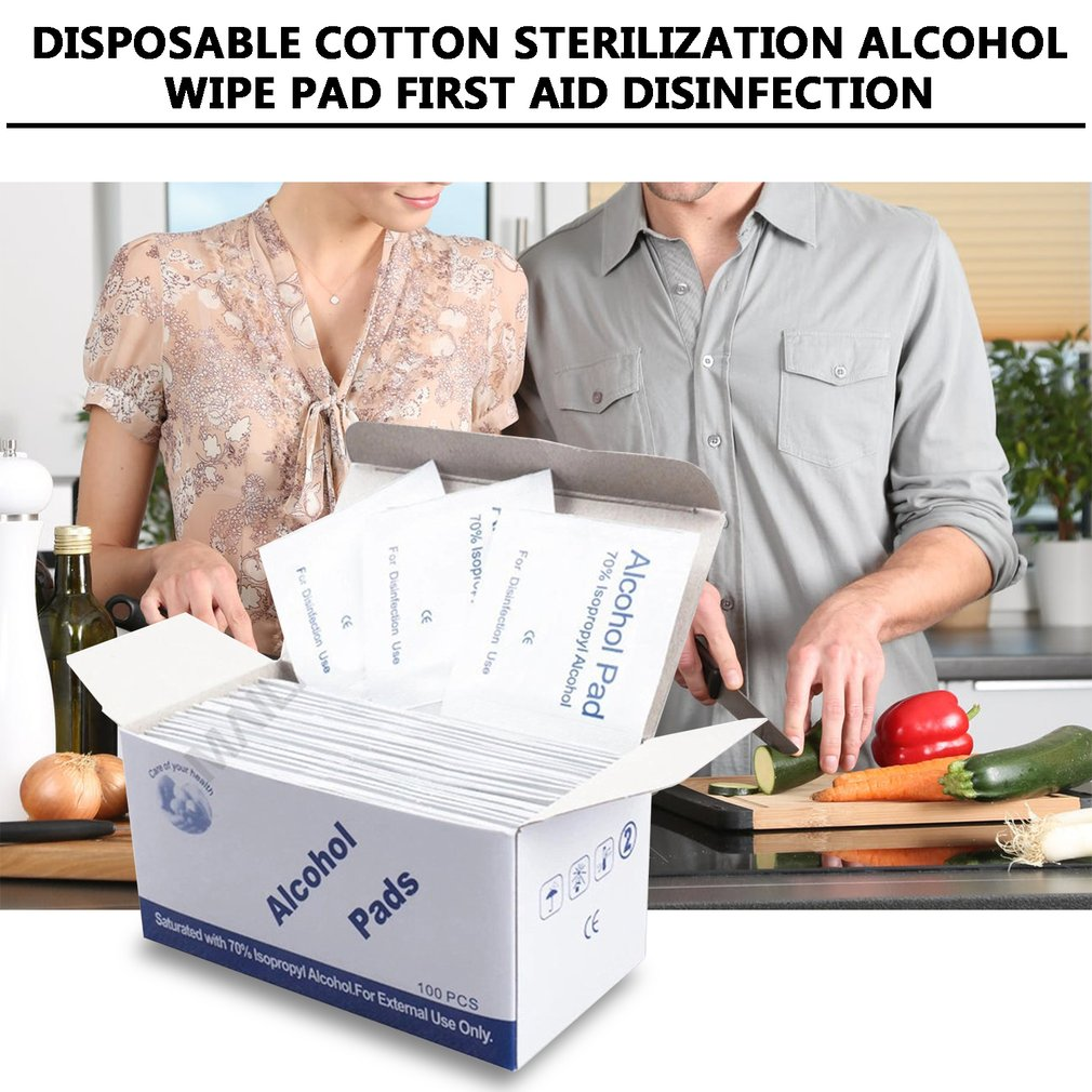 100pcs Disposable Alcohol Disinfection Cotton Pad Disposable Cotton Sterilization Alcohol Wipe Pad First Aid Disinfection