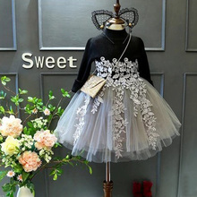 Little Girl 1-5 Years Autumn Baby Girls Long Sleeve Knitted Top Tulle Tutu Dress Toddler Children Kids Princess Dress Clothing baby clothing tutu party mini dress cute toddler clothes patchwork denim shirt dress kids baby girl long sleeve denim tulle 1 6t