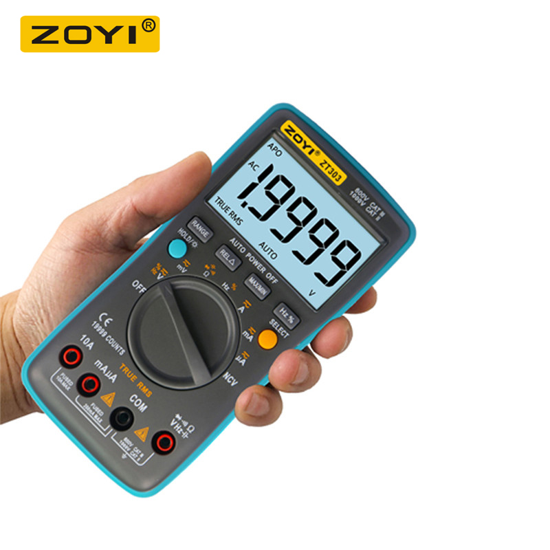 ZOYI <font><b>ZT303</b></font> Digital Multimeter 19999 Counts True-RMS Back Light AC DC Voltage Ammeter Current Ohm Auto/Manual Range image