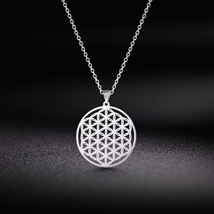 Skyrim Flower of Life Round Pendant Necklace Stainless Steel Golden Mandala Choker Chain Necklaces Jewelry Gift for Women Girls(China)