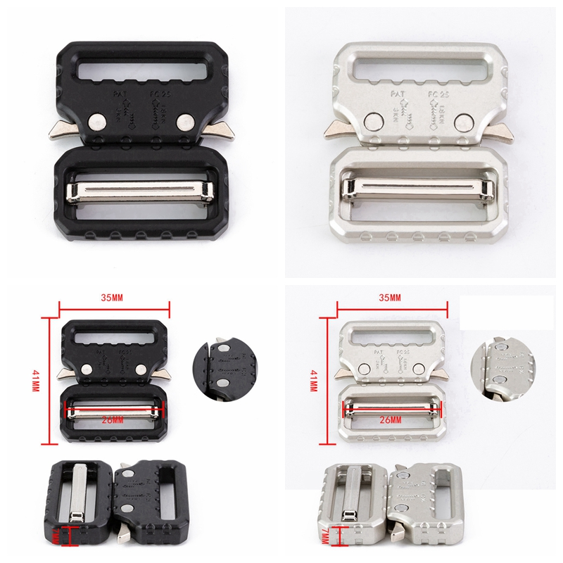 25 38mm Wide Tactical Belt Buckle Quick Side Release Buckles For Webbing Diy Bags Luggage Outdoor Accessories Black Silver Color