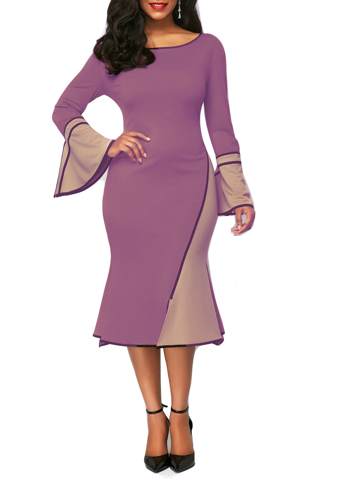 BacklakeGirls Elegant Contrast Color Round Neck Horn Long Sleeve Women Cocktail Dresses Plus Size Office Dress Sexy Formal Dress