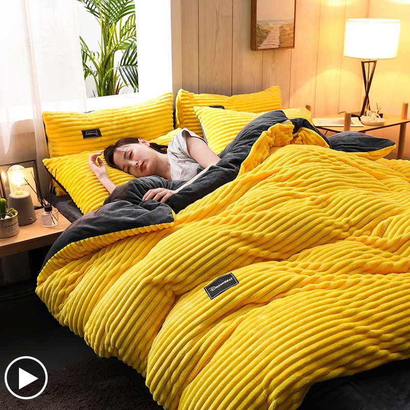Sisher WinterThick Duvet Cover Coral Velvet Quilt Bed Covers Flannel Yellow Bedspread Single Double Queen King (No Pillowcase)