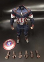 Mnotht 1/6 Captain America combats Clothing Set with Belt Straps Shield Boots 8pcs Hand Model For 12in Action Figure Collection