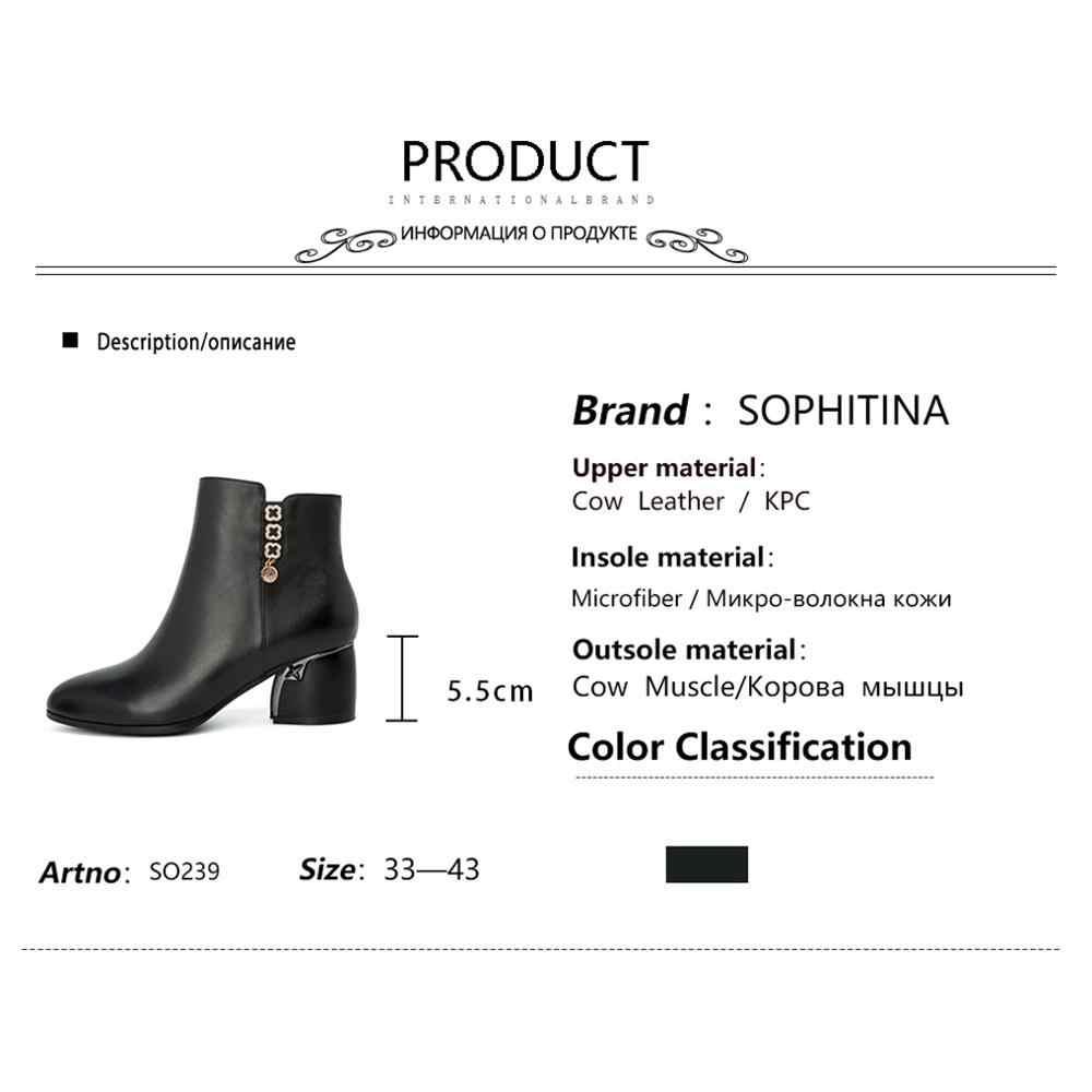 SOPHITINA moda tasarım botları yüksek kaliteli inek deri yuvarlak topuk Metal dekorasyon yuvarlak ayak ayakkabı yeni kadın yarım çizmeler SO239