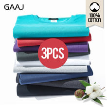 New GAAJ T Shirt Men 100 Cotton 3 Pieces Pcs Basic Blank Tshirt Harajuku White Top Summer Streetwear Oversized Tee Shirt 2XL 3XL(China)