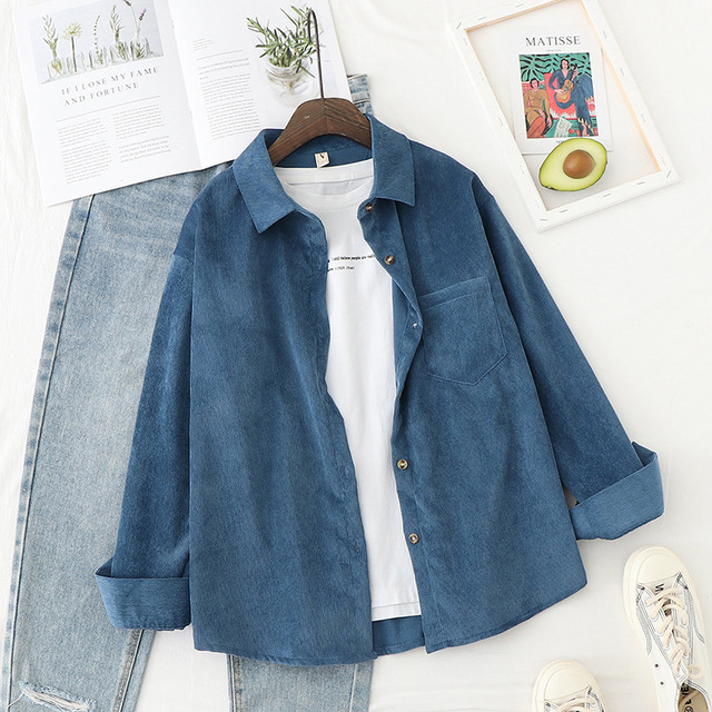Corduroy Shirts Womens Tops And Blouses Long Sleeve Spring Ladies Solid Loose Boyfriend Style Shirt 4