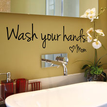 Wash Your Hands Mom Wall Sticker Vinyl Self-adhesive Decal Bedroom Vinyl Art Mural Wall Sticker Bathroom Wallpaper Home Decor(China)