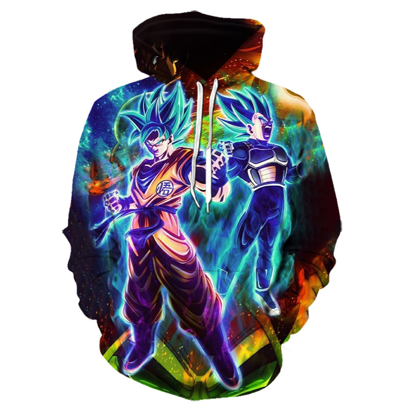 Anime Hoodies Dragon Ball Z Pocket Hooded Sweatshirts Goku 3D Digital Printing Men Women Long Sleeve New Hoodies Tops