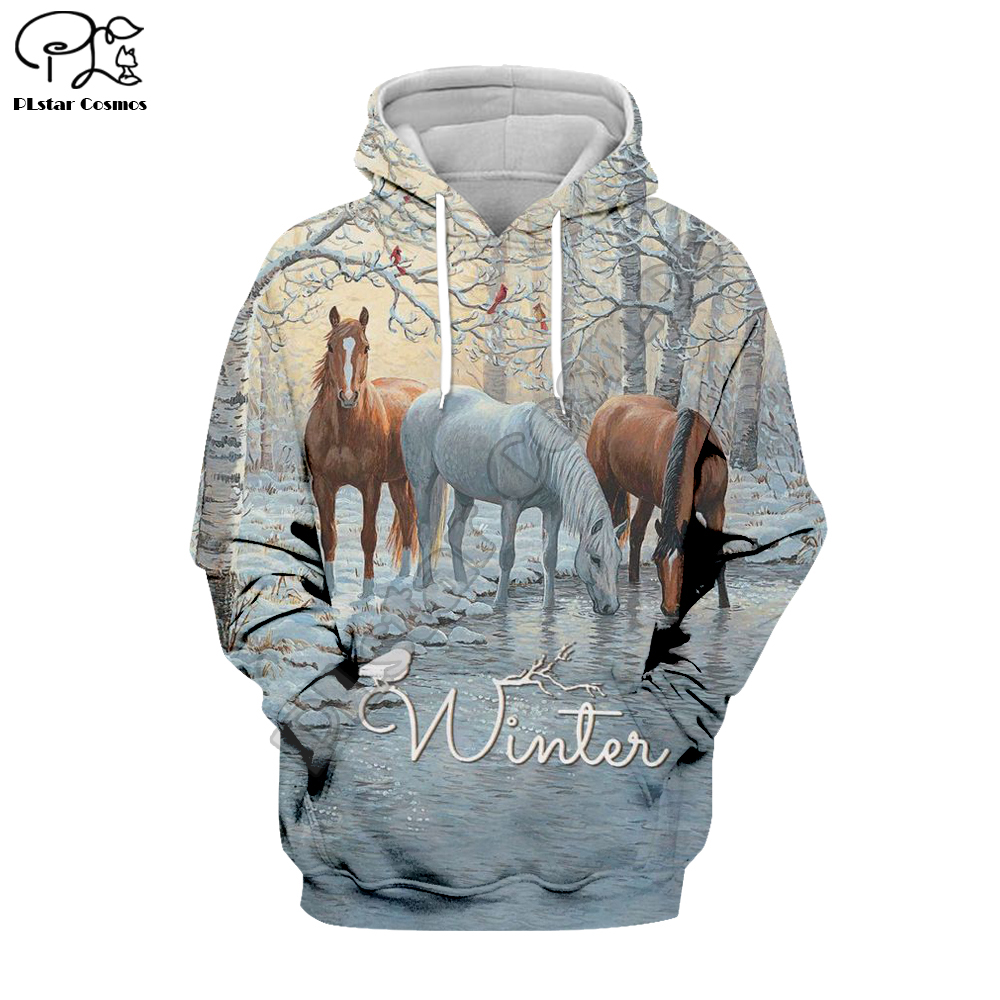 WINTER HORSE ANIMALS ART 3D Print Hoodies 3D Hoodie  Men Women New Fashion Hooded Sweatshirt Long Sleeve Pullover