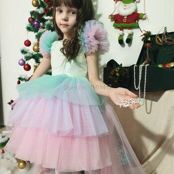 Baby girl, baby girl, baby princess, color baby girl wedding dress, children's party dress, Rainbow skirt unicorn cake skirt