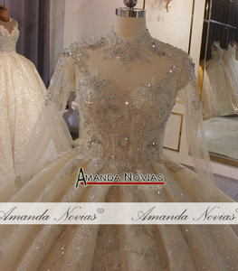 Image 5 - Роскошное бальное платье Дубая с длинным рукавом и длинным шлейфом, индивидуальный заказ, свадебное платье