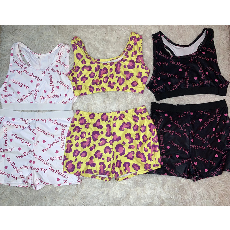 2020 Fashion Printed Casual Two Piece Set Crop Top And Pants Summer Short Tracksuit Women Sexy Bodycon Romper New