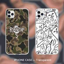 Trend Kat Ripndip Transparant Case Cover Voor Iphone Se 2020 6 6S 7 8 Plus X Xs Max Xr 11 12 Pro Max Coque(China)