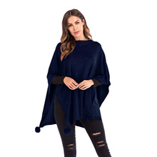 Autumn and winter sweater women's loose shawl cape with drilled seven-point bat sleeve knitwear  womens sweaters 2018 winter black chiffon loose bat sleeves cape shawl top
