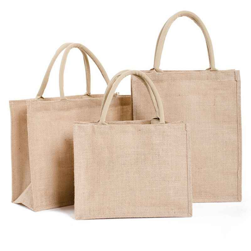 Draagbare Jute Herbruikbare Tote Boodschappentas Kruidenier Opslag Pouch Organizer L9BE