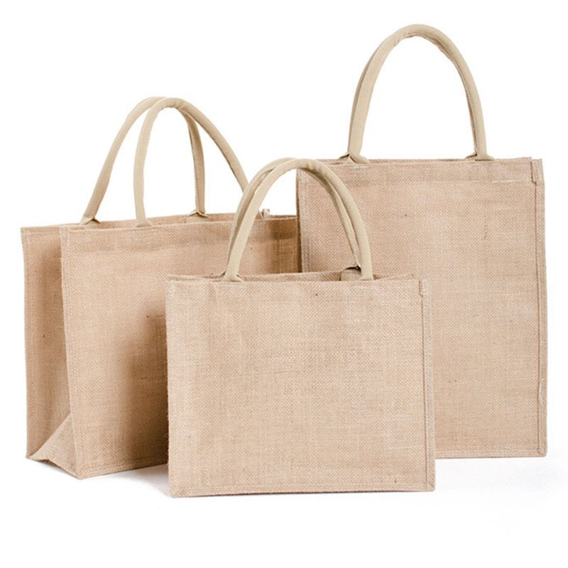 Portable Jute Reusable Tote Shopping Bag Grocery Storage Pouch Organizer L9BE
