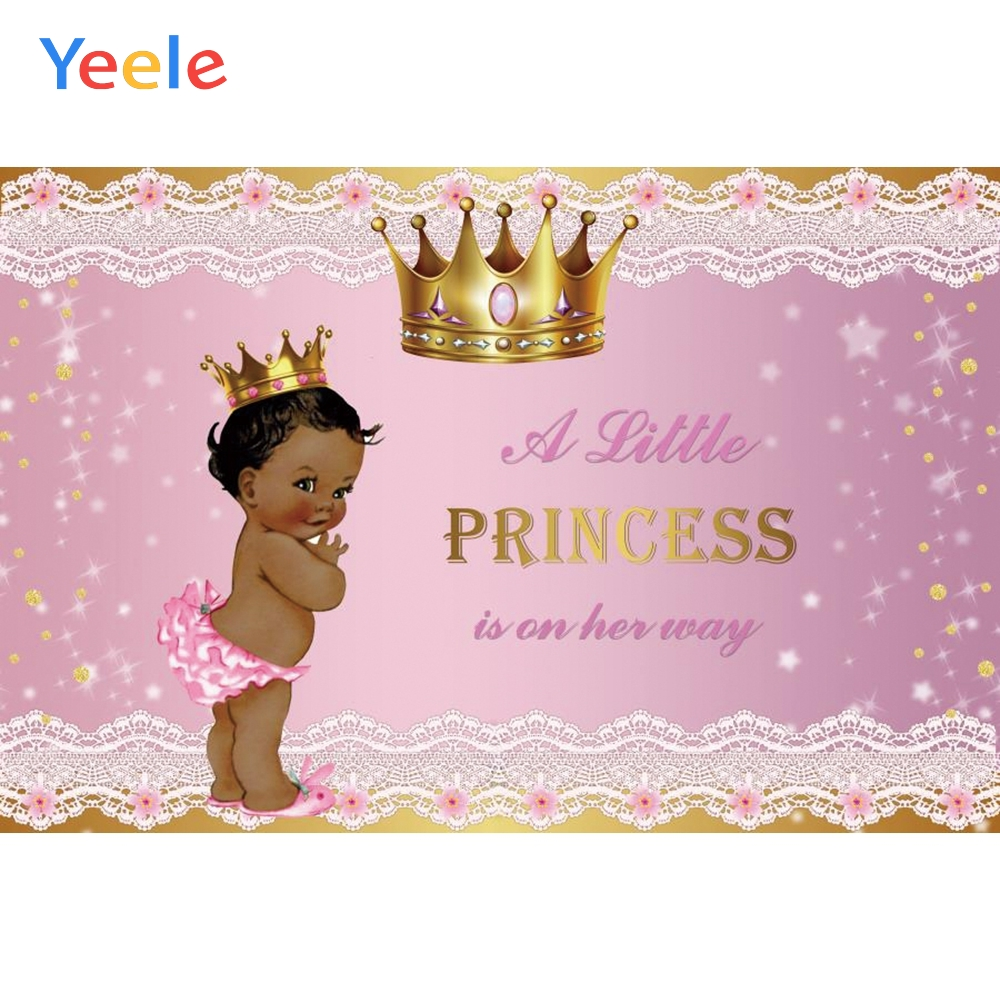 Little Princess Baby Shower Photophone Golden Crown Girl Bithday Banner Customized Photo Backdrop Photo Background Photo Studio