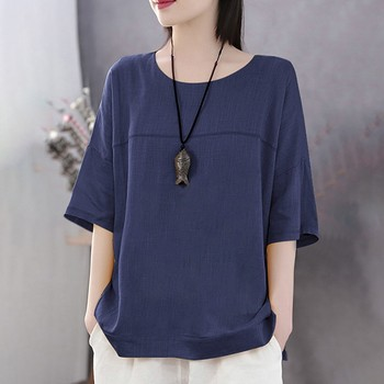 Camiseta de verano para mujer, camiseta informal para mujer, camiseta lisa holgada de manga corta con cuello redondo, camiseta Top