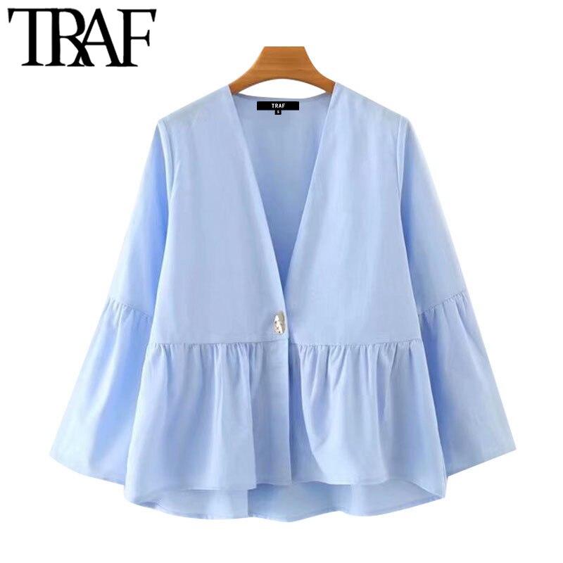 Блузка Женская Асимметричная с оборками, V-образным вырезом и расклешенными рукавами