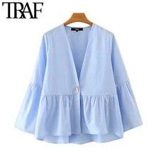 Traf moda feminina solto babados blusas irregulares vintage v pescoço alargamento mangas camisas femininas blusas chiques