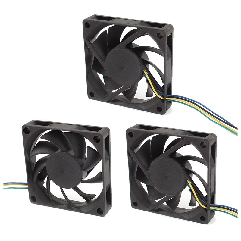3Pcs DC12V 0.23A 4P 70mmx15mm Cooling Fan For Computer Case CPU Cooler Radiator