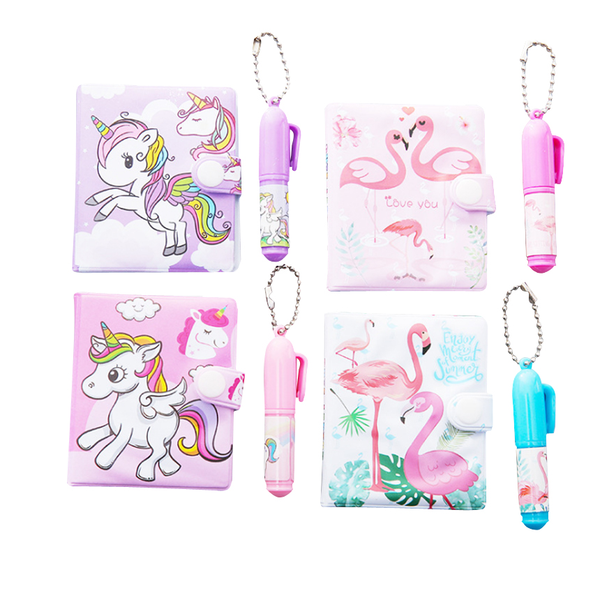 1set/lot Mini Kawaii Cartoon Notebook + Ballpoint Pen Set Unicorn FlamingoNotes Book Mark Stickers Party Sign Book