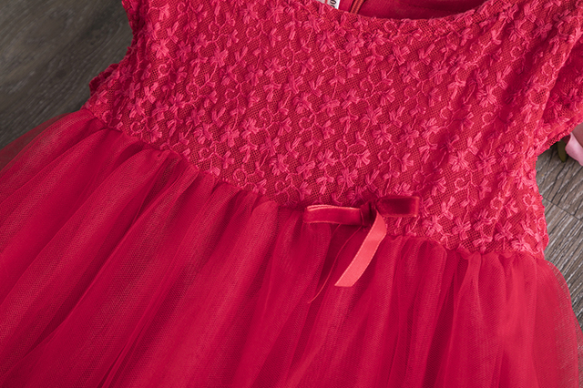 Red Girl Dress Childrens Clothing Lace Princess Kids Dresses For Girls Tutu Tulle Birthday Party Wear Baby Dress School Clothes