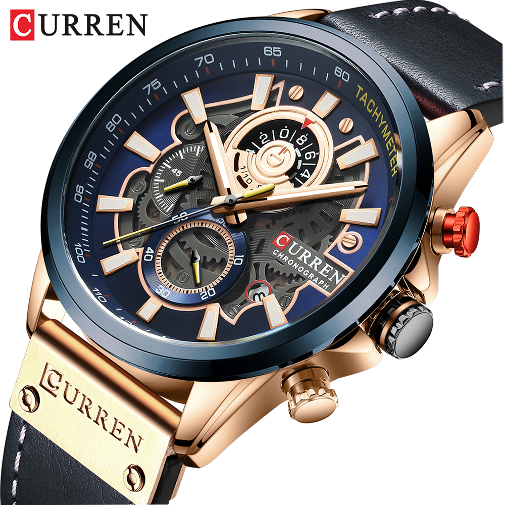 NEW CURREN Fashion Sport Watch Men Blue Top Brand Luxury Military Leather Wrist Watches Man Clock Casual Chronograph Wristwatch(China)