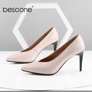 BESCONE Occupation Lady Pumps High Quality Sheepskin Sexy Pointed Toe Thin Heel Solid Shallow Shoes New Handmade Pumps BC604