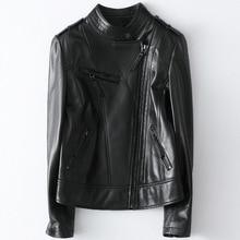 Plus Size Sheepskin Short Coat Cropped Jacket Women Genuine Leather Jacket Stand Collar Motorcycle Coat Female Tops
